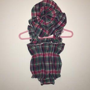 Ralph Lauren infant girls hat & romper Sz 0-3m